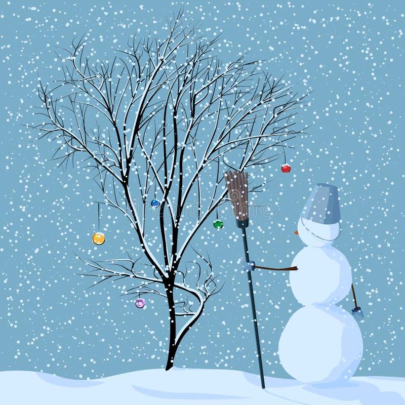 Illustrazione del pupazzo di neve solo vicino all'albero. illustrazione di stock