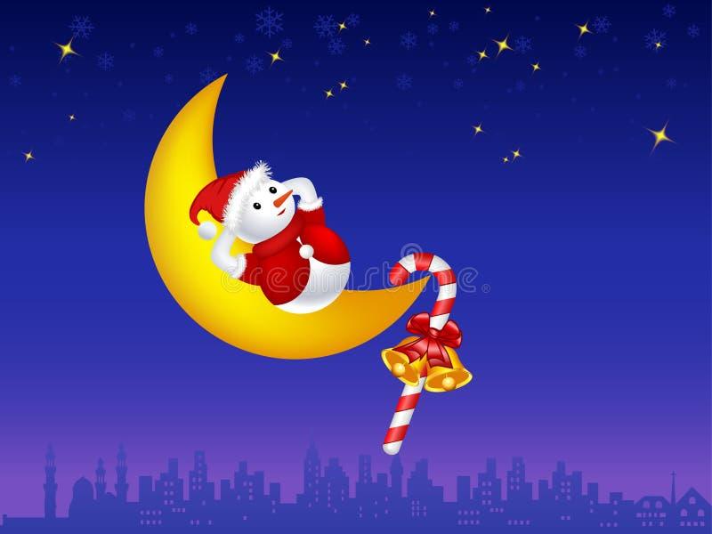 Illustrazione del pupazzo di neve sulla luna illustrazione vettoriale