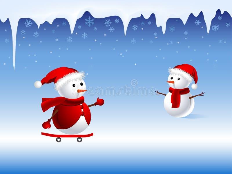 Illustrazione del pupazzo di neve sveglio illustrazione di stock