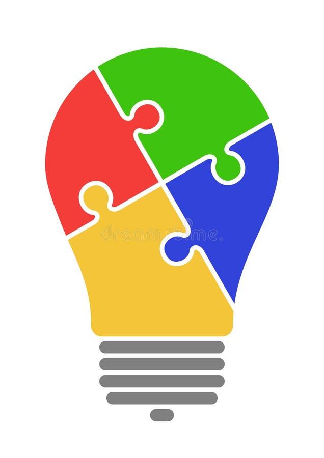 Illustrazione del puzzle della lampada di idea fotografia stock
