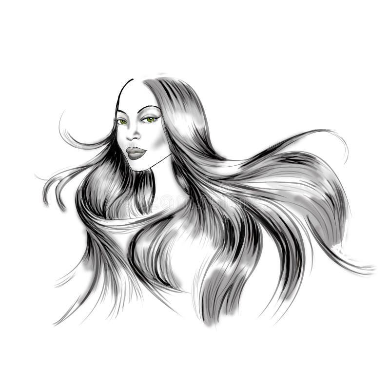 Illustrazione del ritratto della donna con capelli neri lunghi scorrenti illustrazione vettoriale