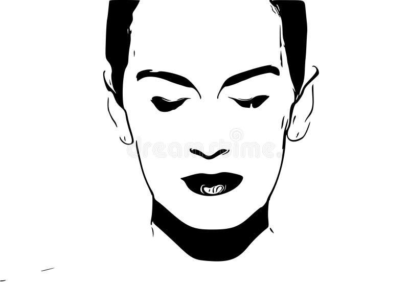 Illustrazione del ritratto della donna Fine in su immagine stock