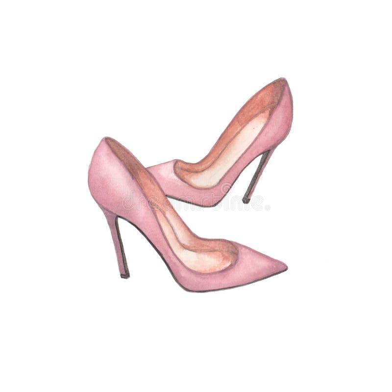 Illustrazione del rosa delle scarpe dell'acquerello su fondo bianco illustrazione vettoriale