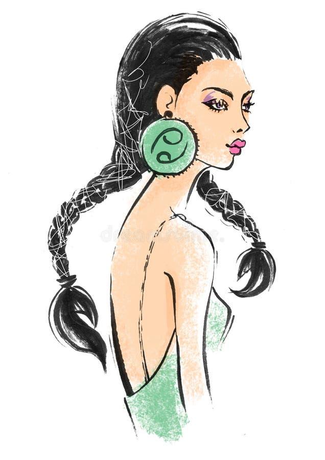 Illustrazione del segno astrologico del Cancro come bella ragazza royalty illustrazione gratis
