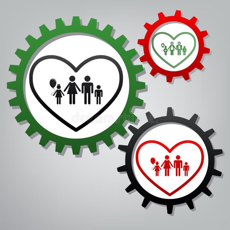 Illustrazione del segno della famiglia nella forma del cuore Vettore Tre collegati illustrazione di stock