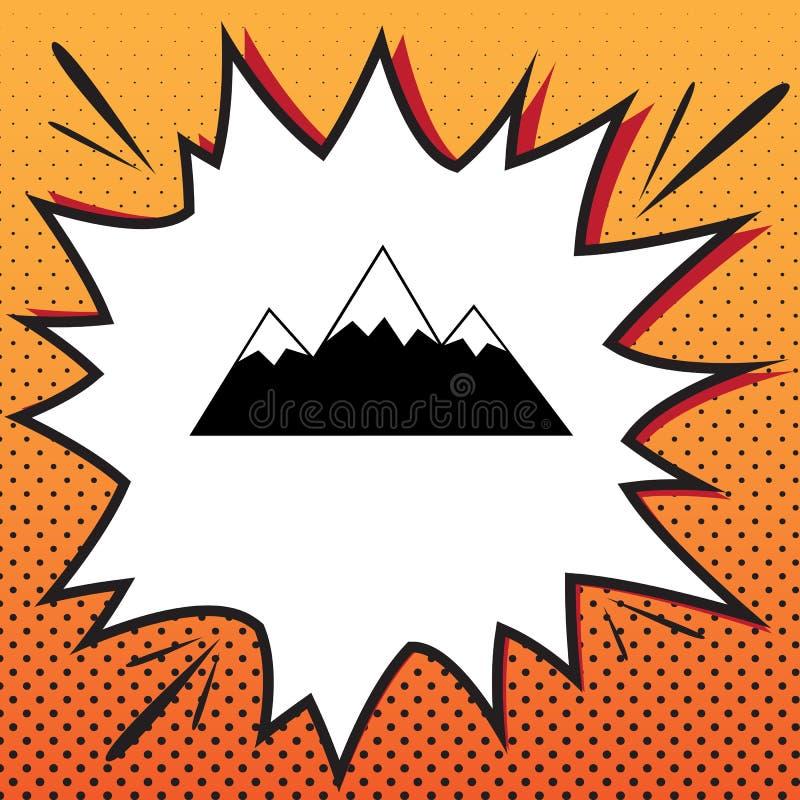 Illustrazione del segno della montagna Vettore Icona di stile dei fumetti su Pop art illustrazione vettoriale