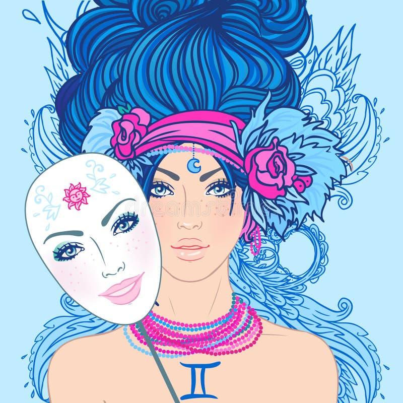 Illustrazione del segno dello zodiaco dei gemini come bella ragazza con la maschera illustrazione di stock