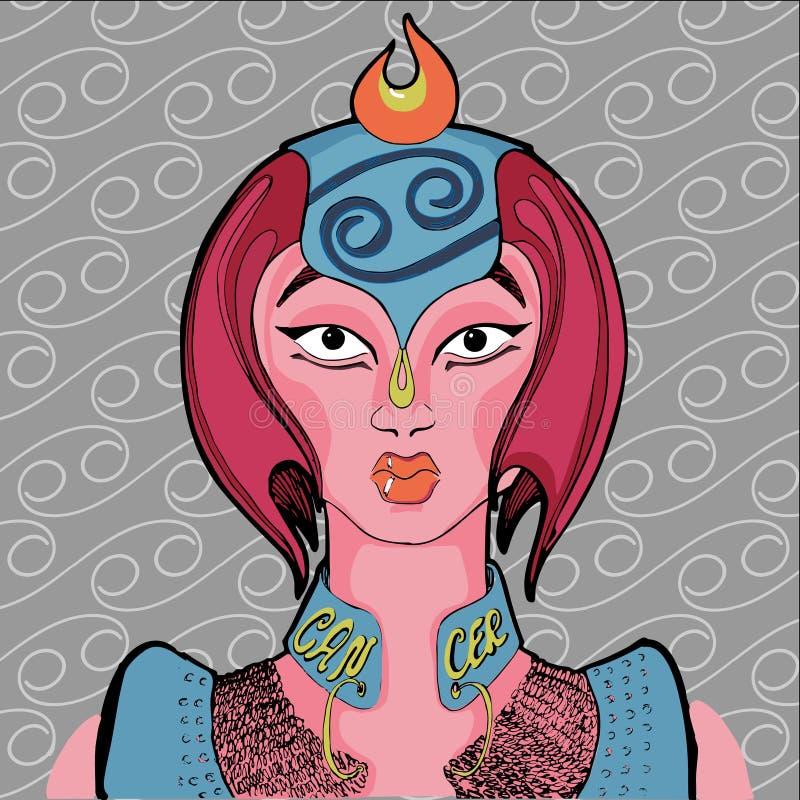 Illustrazione del segno dello zodiaco del cancro come bella ragazza royalty illustrazione gratis