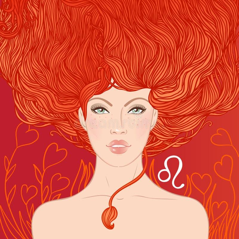 Illustrazione del segno dello zodiaco di Leo come bella ragazza illustrazione vettoriale