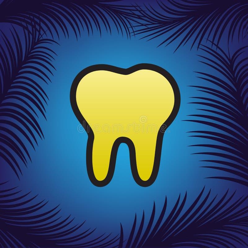 Illustrazione del segno del dente Vettore Icona dorata con il contorno nero illustrazione di stock