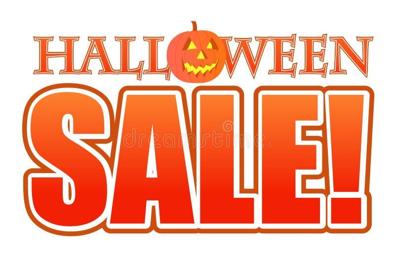 Illustrazione del segno di vendita della zucca di Halloween illustrazione di stock