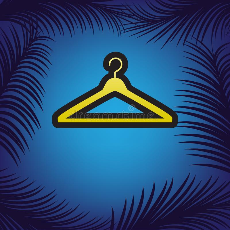 Illustrazione del segno del gancio Vettore Icona dorata con il contorno nero illustrazione vettoriale