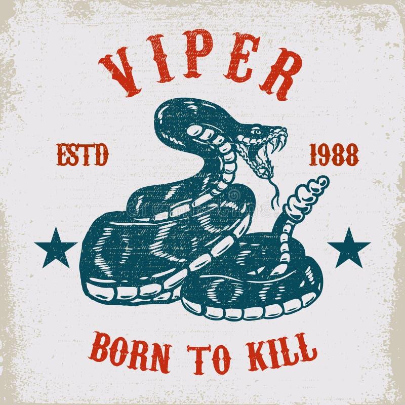 Illustrazione del serpente della vipera sul fondo di lerciume Progetti l'elemento per il manifesto, la carta, la maglietta, emble illustrazione vettoriale