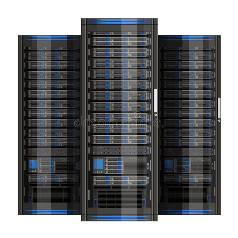 Illustrazione del server di rete con progettazione piana illustrazione di stock
