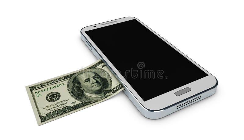 Illustrazione del telefono cellulare e dei soldi su fondo bianco Concetto del pagamento e del risparmio fotografia stock libera da diritti