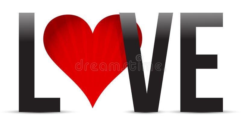 Illustrazione del testo del cuore di amore royalty illustrazione gratis