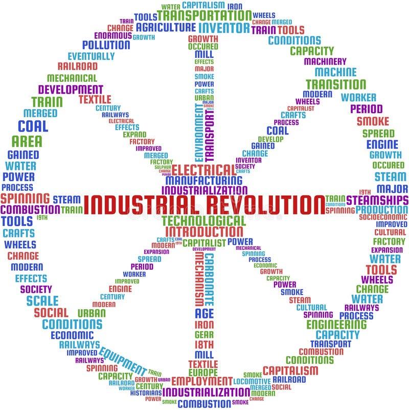 Illustrazione del testo della nuvola di parola della rivoluzione industriale nella forma di un Cartwheel illustrazione di stock