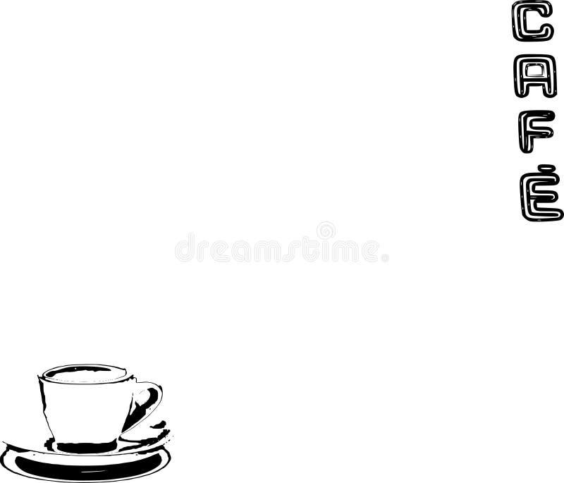 Illustrazione del testo e della tazza del caffè fotografia stock libera da diritti
