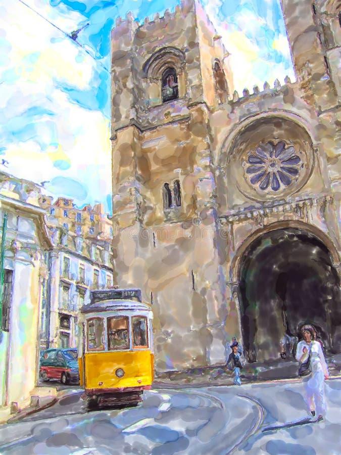 Illustrazione del tram d'annata nei nomi Alfama del distretto di Lisbona al Se della cattedrale royalty illustrazione gratis