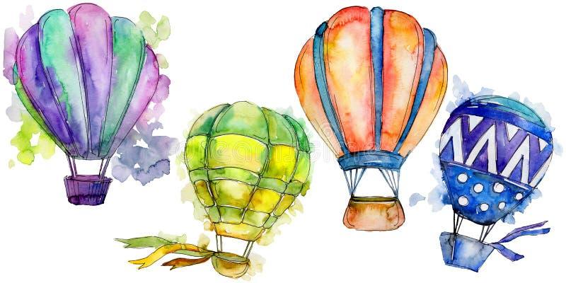 Illustrazione del trasporto aereo della mosca del fondo della mongolfiera royalty illustrazione gratis