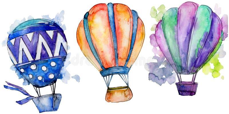 Illustrazione del trasporto aereo della mosca del fondo della mongolfiera illustrazione di stock
