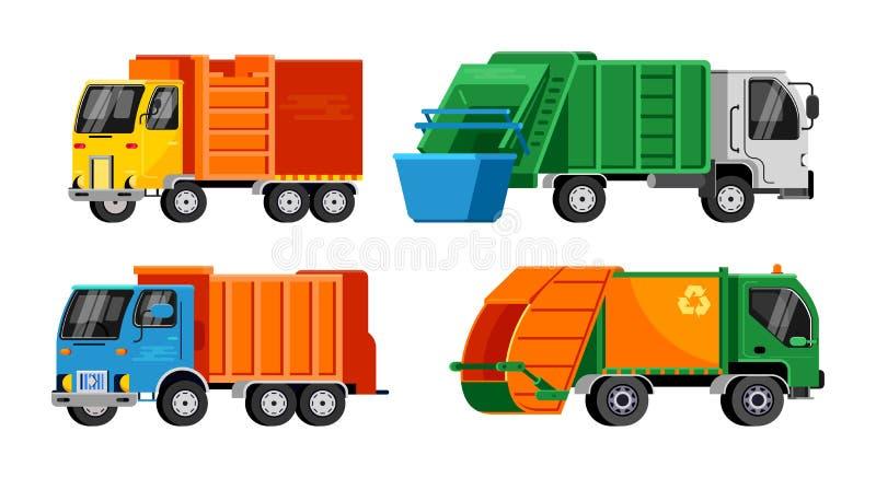 Illustrazione del trasporto del veicolo dei rifiuti di vettore del camion di immondizia che ricicla pulizia pulita residua di ind royalty illustrazione gratis