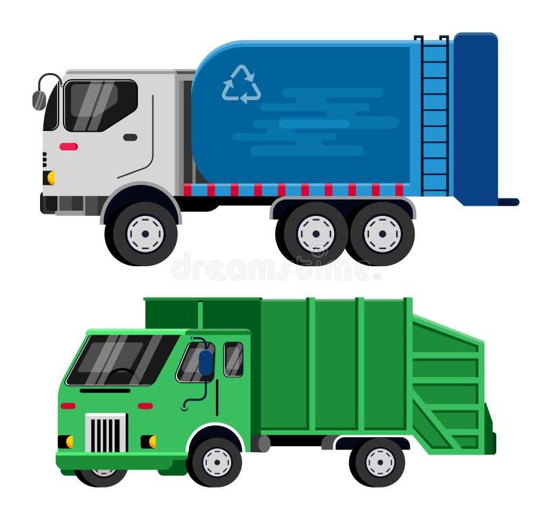 Illustrazione del trasporto del veicolo dei rifiuti di vettore del camion di immondizia che ricicla pulizia pulita residua di ind illustrazione vettoriale