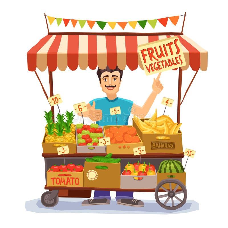 Illustrazione del venditore ambulante illustrazione vettoriale