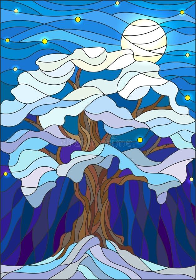 Illustrazione del vetro macchiato, albero innevato solo contro il cielo notturno e la luna illustrazione vettoriale