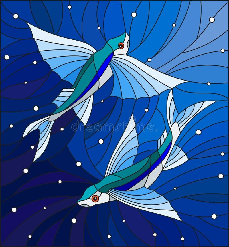 Illustrazione del vetro macchiato con due pesci volanti sui precedenti delle bolle di aria e dell'acqua illustrazione di stock