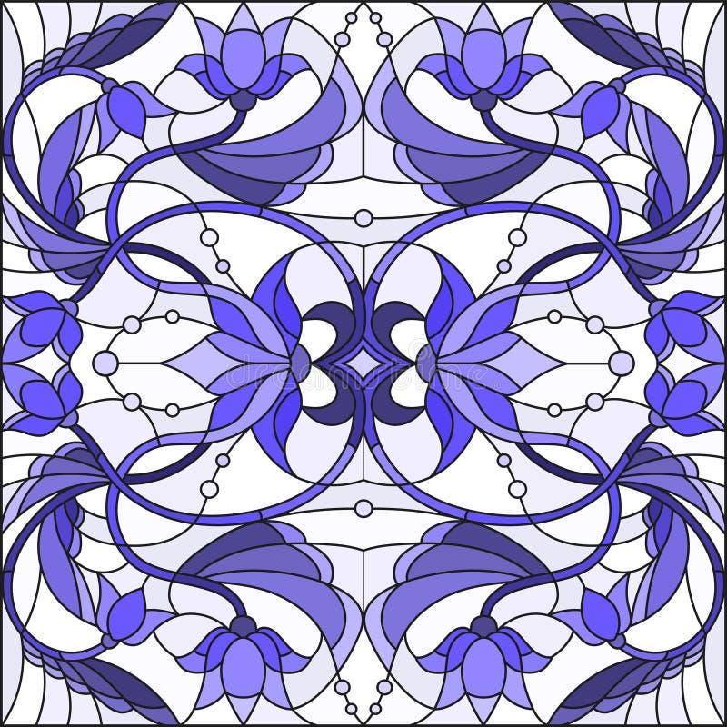 Illustrazione del vetro macchiato con i turbinii astratti, i fiori e le foglie su un fondo leggero, blu di gamma royalty illustrazione gratis