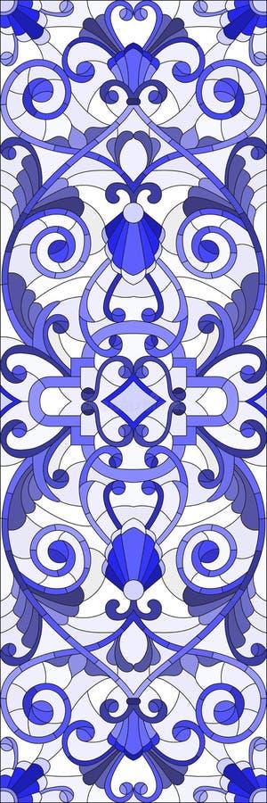 Illustrazione del vetro macchiato con i turbinii astratti, i fiori e le foglie su un fondo leggero, blu verticale di gamma di ori illustrazione vettoriale