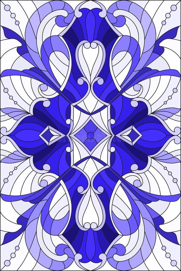 Illustrazione del vetro macchiato con i turbinii astratti, i fiori e le foglie su un fondo leggero, blu verticale di gamma di ori illustrazione di stock