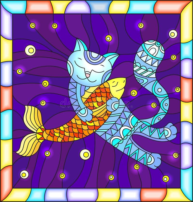 Illustrazione del vetro macchiato con il gatto divertente che abbraccia un pesce su un fondo blu con le stelle, nel telaio lumino royalty illustrazione gratis