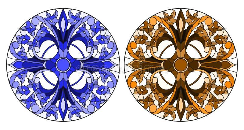 Illustrazione del vetro macchiato con il tono blu e marrone floreale rotondo di disposizioni, illustrazione vettoriale