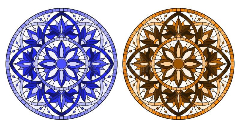 Illustrazione del vetro macchiato con il tono blu e marrone floreale rotondo di disposizioni, illustrazione di stock