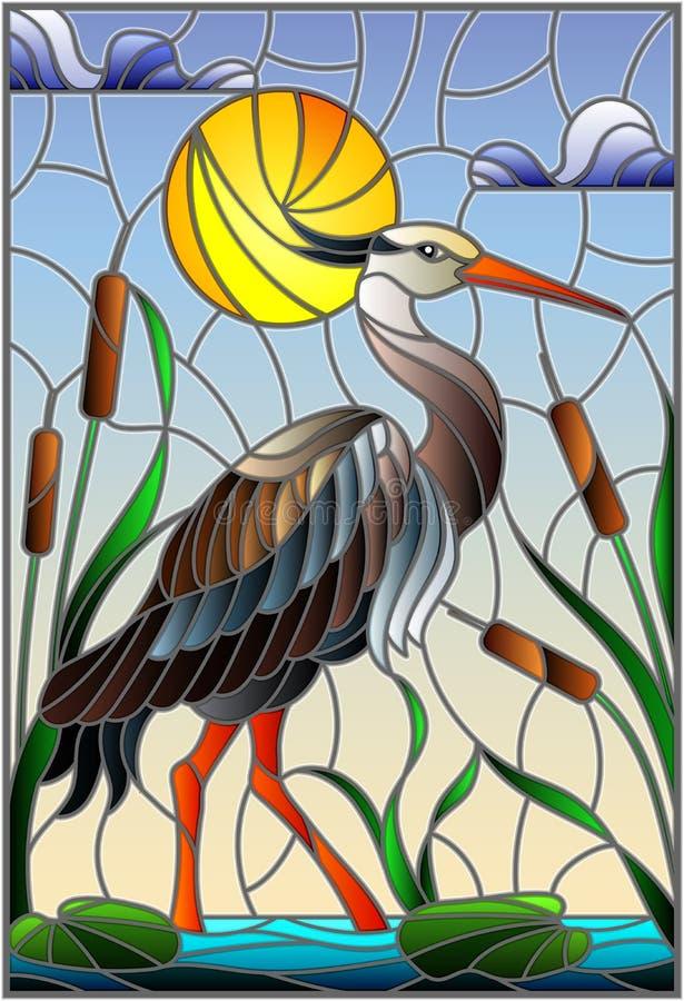 Illustrazione del vetro macchiato con l'airone marrone, canne su uno stagno al sole, cielo e nuvole e sole royalty illustrazione gratis