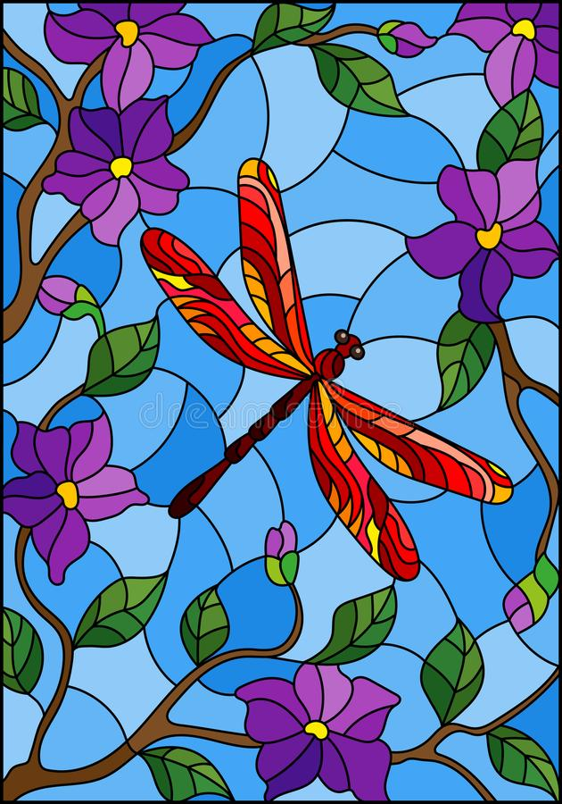 Illustrazione del vetro macchiato con la libellula rossa luminosa contro il cielo, il fogliame ed i fiori porpora royalty illustrazione gratis