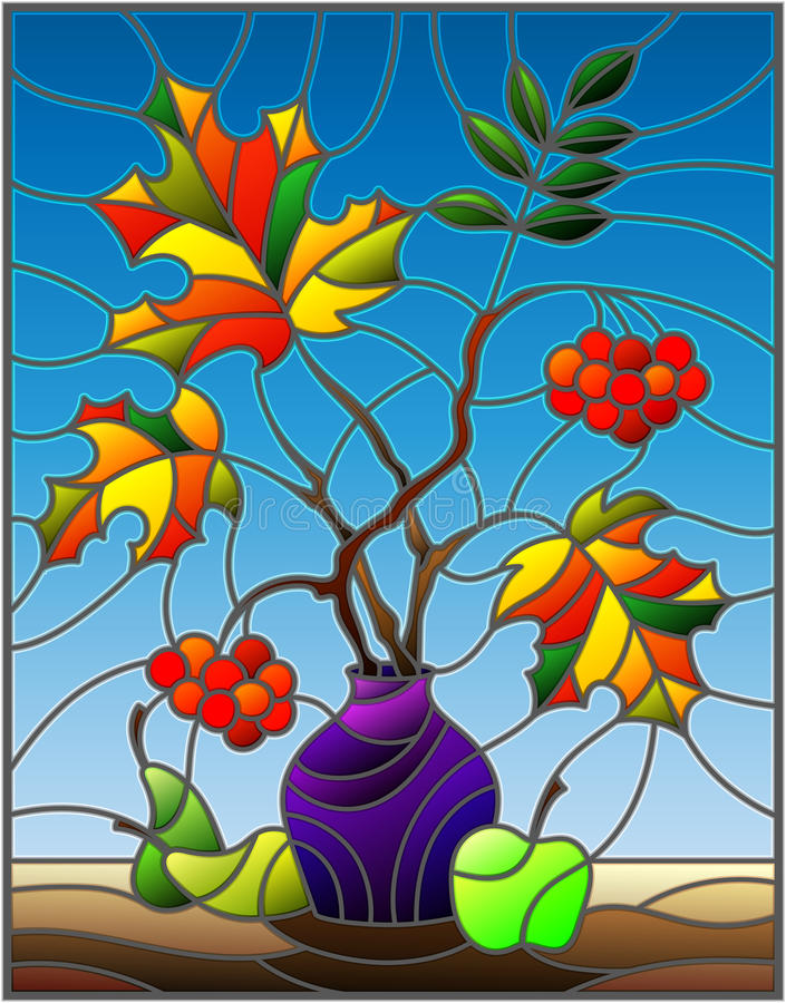 Illustrazione del vetro macchiato con la natura morta di autunno, rami della cenere di montagna ed acero in vaso e frutta porpora illustrazione vettoriale