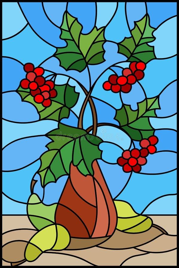 Illustrazione del vetro macchiato con la natura morta, mazzo dei rami del viburno in vaso ceramico e pere gialle su un fondo blu royalty illustrazione gratis