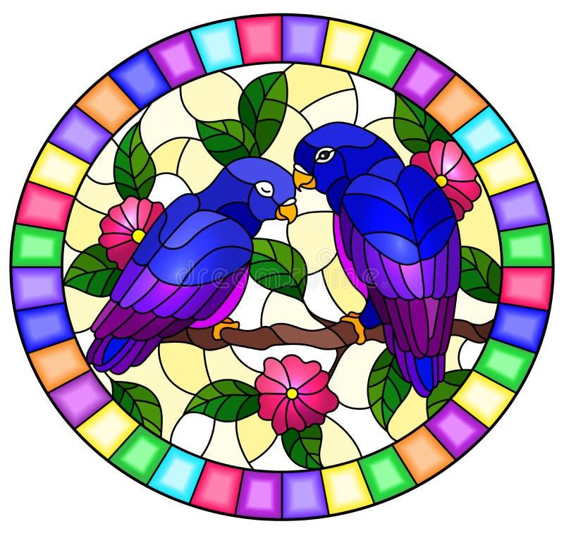 Illustrazione del vetro macchiato con le coppie i pappagalli blu degli uccelli sull'albero con i fiori rosa, immagine ovale del r illustrazione di stock