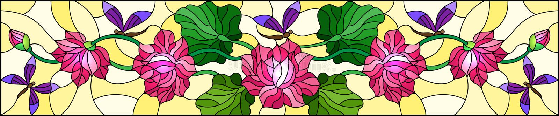 Illustrazione del vetro macchiato con le foglie e fiori di Lotus, fiori rosa e libellule porpora su fondo giallo, orizzontale im illustrazione di stock