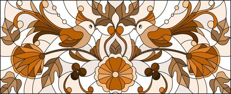 Illustrazione del vetro macchiato con un paio degli uccelli, dei fiori e dei modelli astratti, tono marrone, immagine orizzontale illustrazione vettoriale