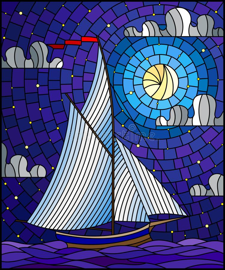 Illustrazione del vetro macchiato con una navigazione della nave con le vele bianche contro il mare, la luna ed il cielo stellato illustrazione vettoriale