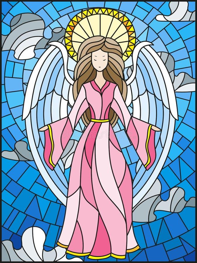 Illustrazione del vetro macchiato con una ragazza degli angeli sui precedenti del cielo nuvoloso illustrazione vettoriale