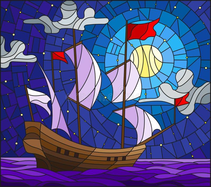 Illustrazione del vetro macchiato con una vecchia navigazione della nave con le vele bianche contro il mare, la luna ed il cielo  illustrazione di stock