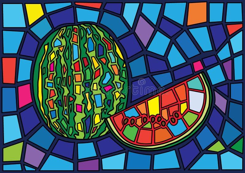 Illustrazione del vetro macchiato di Mosè della frutta dell'anguria royalty illustrazione gratis