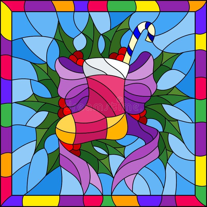 Illustrazione del vetro macchiato per il nuovo anno ed il Natale, calzino con i regali ed i dolci, rami dell'agrifoglio e nastri  royalty illustrazione gratis
