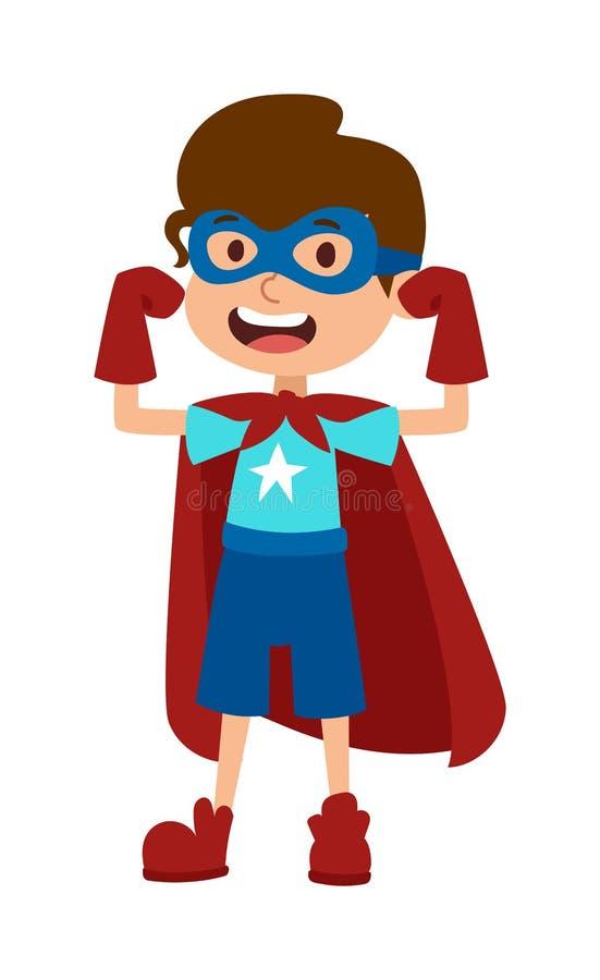 Illustrazione del vettore del personaggio dei cartoni animati del ragazzo dell'eroe eccellente royalty illustrazione gratis