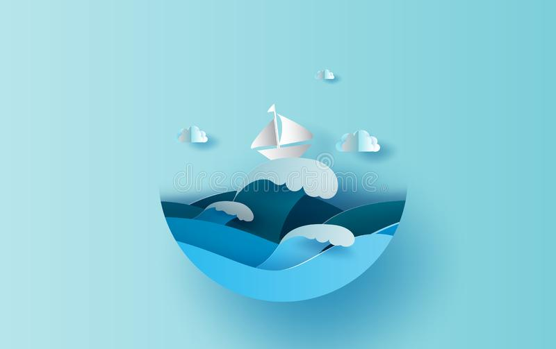 Illustrazione del viaggio nel concetto del cerchio di stagione estiva di festa Stile tagliato di carta digitale di progettazione  illustrazione di stock